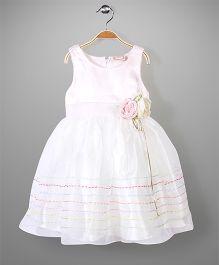Little Coogie Sleeveless Party Dress Floral Applique - Light Pink