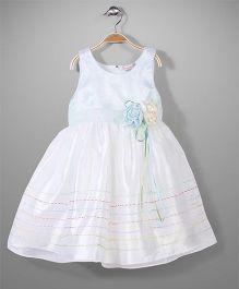 Little Coogie Sleeveless Party Dress Floral Applique - Light Blue