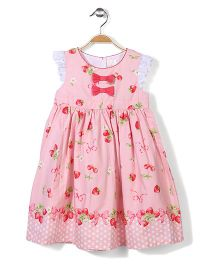 Little Coogie Strawberry Print Dress - Pink