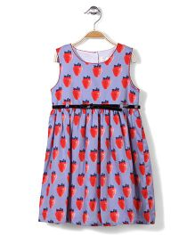Little Coogie Strawberry Print Dress - Blue & Red
