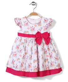Bebe Wardrobe Short Sleeves Dress Floral - White And Pink