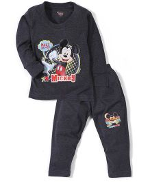 Bodycare Full Sleeves T-Shirt And Pant Set Mickey Mouse Print - Black