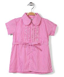 Bebe Wardrobe Collar Neck Striped Dress - Pink