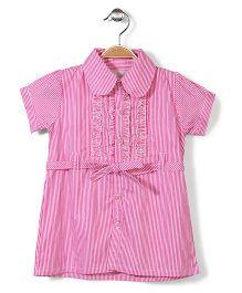 Bebe Wardrobe Collar Neck Striped Dress - Pink