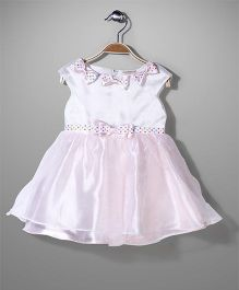 Little Coogie Cap Sleeves Party Frock Bow Applique - White Pink