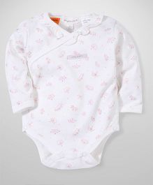 Pumpkin Patch Crossover Bodysuit Crown Print - White And Pink