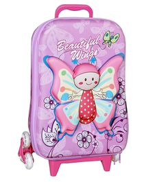 T-Bags 3D Baby Butterfly Trolley Bag Purple - 12.2 Inches