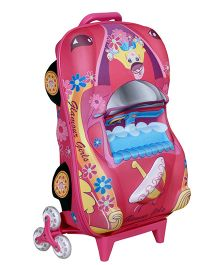 T-Bags 3D Car Princess Trolley Bag Pink - 12.2 Inches