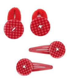 Pumpkin Patch Hair Clip And Hair Rubber Set Pack Of 2 - Red