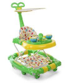 Musical Baby Walker Cum Rocker With Canopy - Green