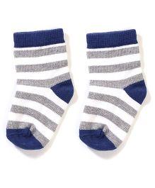 Mustang Socks Stripe Design - Grey And Navy