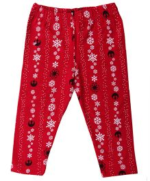 Flowers Print Cotton Lycra Leggings - Red