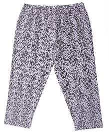 Allover Printed Cotton Lycra Leggings - White