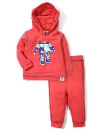 Pumpkin Patch Hooded Sweatshirt And Pant Set Robot Print - Red