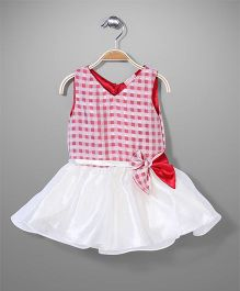 Little Coogie Sleeveless Checked Party Dress - Red
