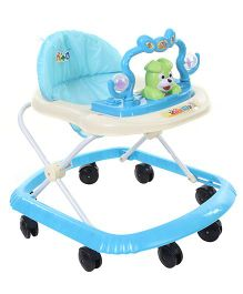 Musical Baby Walker With Cute Puppy Face - Blue & Cream