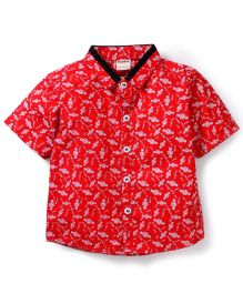 Bee Bee Half Sleeves Shirt Watch Print - Red