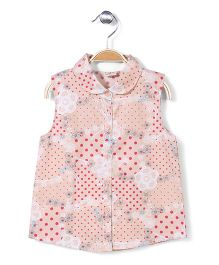 Bee Bee Sleeveless Top Floral Print - Peach