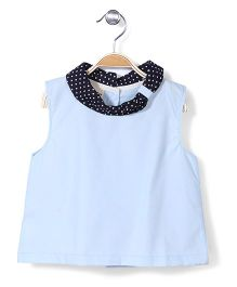 Bee Bee Sleeveless Polka Dot Neckline Top - Blue N Black