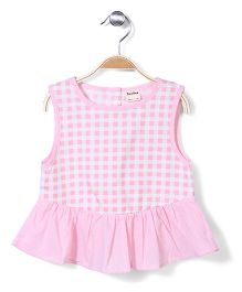 Bee Bee Sleeveless Frock Style Top Checks - Pink
