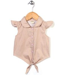 Bee Bee Short Sleeves Asymmetrical Top Polka Dots - Light Brown