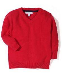 Pumpkin Patch V Neck Sweater - Red