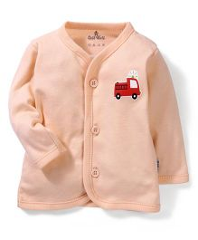 Child World Full Sleeves Vest Fire Brigade Print - Peach