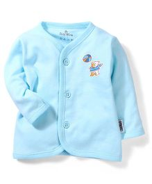 Child World Full Sleeves Vest Teddy Print - Blue