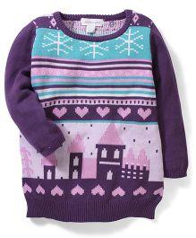 Pumpkin Patch Full Sleeves Fair Isle Knit Sweater - Purple