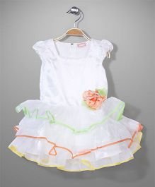 Little Coogie Cap Sleeves Party Dress - White And Orange