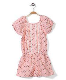 De Berry  Short Sleeves Jumpsuit Polka Dot Print - Light Pink