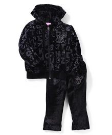 Mickey Hooded Velvet Jacket And Pant Set - Black