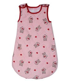Kadambaby Quilted Sleeping Bag Wise Owl Print - Pink