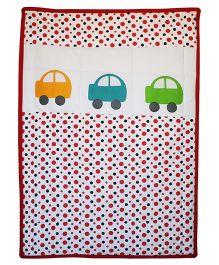 Kadambaby Quilt Car Print - White Red
