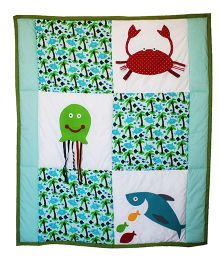 Kadambaby Under The Sea Quilt Cum Playmat Fish Print - Green