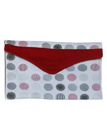 Kadambaby Polka Dots Diaper And Wipe Pouch - White Red