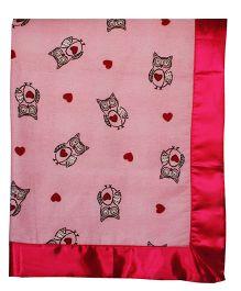 Kadam Baby Wise Owl Reversible Receiving Blanket - Pink & Red
