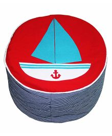 Red And Blue Ship Applique Little Sailor Pouffe Cover Pouffe Stool Cover By Kadambaby
