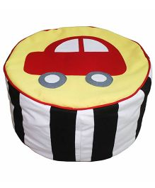 Yellow Car Applique Traffic Jam Pouffe Cover Pouffe Stool Cover By Kadambaby