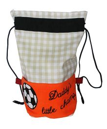 Kadambaby Little Champ Kids Drawstring Bag - White & Orange