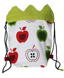 Multipupose On The Go Apple Print Kids Canvas Drawstring Bag By Kadambaby