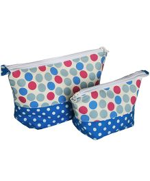 Multipurpose Polka Dots Pencil Pouch Art Pouch Set Of 2 Bags By Kadambaby