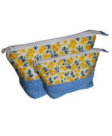 Multipurpose Little Flower Pencil Pouch Art Pouch Set Of 2 Bags By Kadambaby