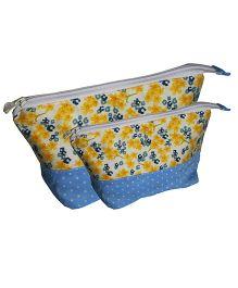 Multipurpose Little Flower Pencil Pouch Art Pouch Set Of 2 Bags By Kadambaby