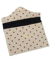 Beige Little Heart Print Diaper And Wipe Case By Kadambaby