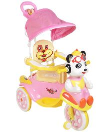 Musical Tricycle With Canopy And Push Handle - Pink