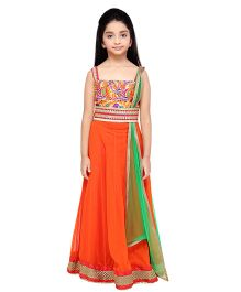 K&U Embroidered Choli Lehenga With Dupatta - Orange Green