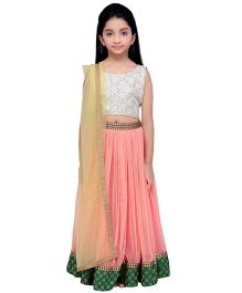 K&U Sleeveless Choli Lehenga With Dupatta Embroidery - Silver Peach Golden