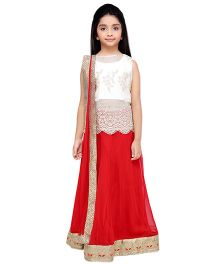 K&U Embroidered Choli Lehenga With Dupatta - White Red