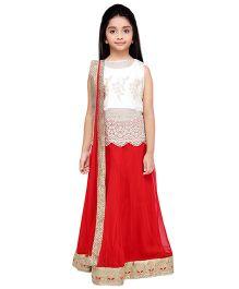 K&U Embroidered Choli Lehenga With Dupatta - White Red